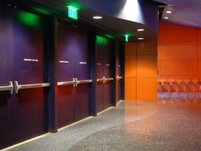 This Is A Photo Of A Meeting Area With Panic Bars Installed On The Exterior Doors.