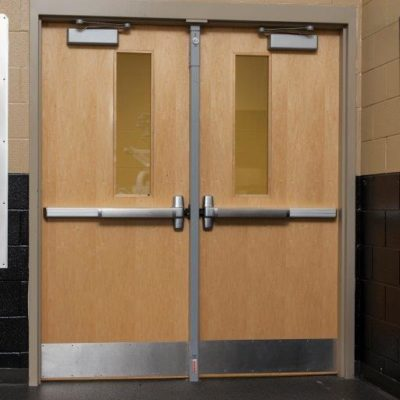 This Is A Photo Of A School Doorway With Panic Bars And Door Closers Installed