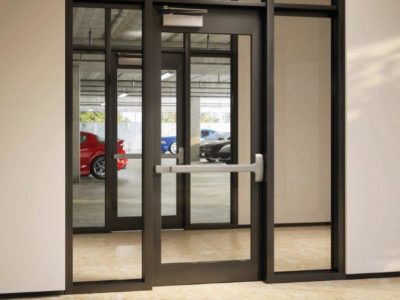 This Is A Photo Of A Parking Garage Entrance With Door Hardware Installed