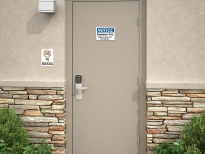 This Is A Photo Of An Employee Entrance With An Access Control System