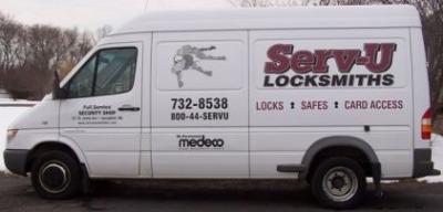 This is a photo of a serv-u locksmiths van.